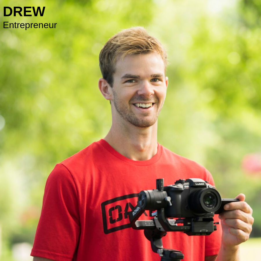 Man holding a camera and smiling